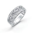 .29ct Simon G Diamond Antique Style 18k White Gold Wedding Band Ring