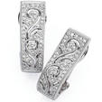 Simon G Diamond Antique Style 18k White Gold Earrings
