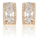 Simon G Diamond Antique Style 18k Two Tone Gold Floral Earrings