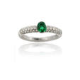 .70ct Leo Pizzo Diamond and Emerald 18k White Gold Ring