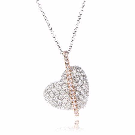Simon G Diamond 18k Two Tone Gold Heart Pendant Necklace