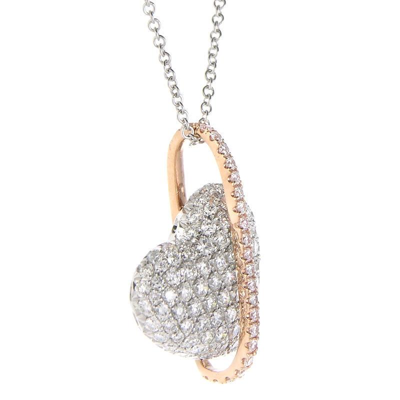Ct simon g diamond 18k two tone gold heart pendant necklace 112ct simon g diamond 18k two tone gold heart pendant necklace audiocablefo