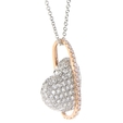 1.12ct Simon G Diamond 18k Two Tone Gold Heart Pendant Necklace