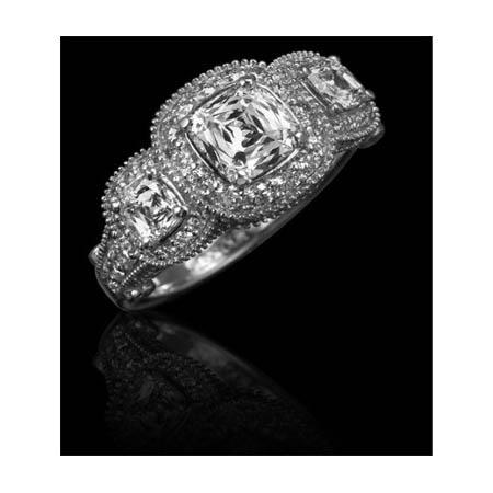 Christopher Designs Diamond Antique style 18k White Gold Three Stone Halo Engagement Ring Setting