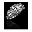 1.85ct Christopher Designs Diamond Antique style 18k White Gold Three Stone Halo Engagement Ring Setting