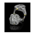 2.23ct Christopher Designs Diamond Antique Style Platinum and 18K Yellow Gold Halo Engagement Ring Setting