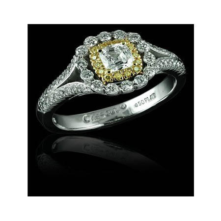 Christopher Designs Diamond Platinum and 18K Yellow Gold Engagement Ring