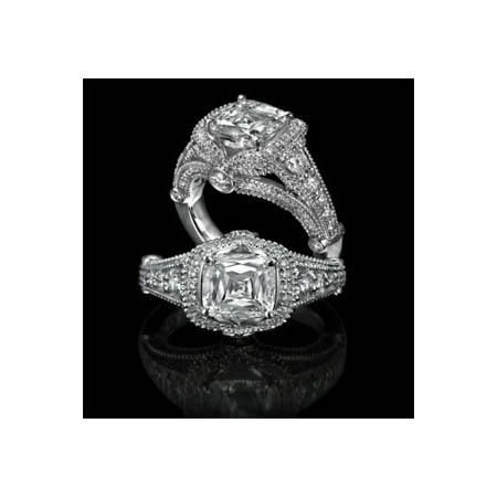 Christopher Designs Diamond Antique Style Platinum Halo Engagement Ring Setting