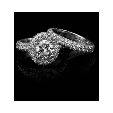 Christopher Designs Diamond 18k White Gold Halo Engagement Ring Setting and Wedding Band Set