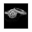 3.87ct Christopher Designs Diamond 18k White Gold Halo Engagement Ring Setting and Wedding Band Set