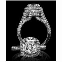 Christopher Designs Diamond Antique Style 18k White Gold Halo Engagement Ring Setting
