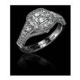 1.30ct Christopher Designs Diamond Antique Style 18k white Gold Engagement Ring Setting