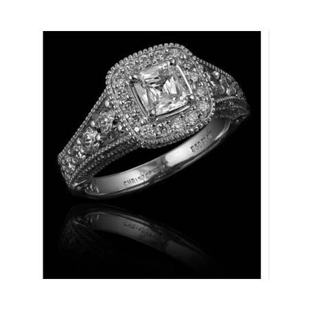 Christopher Designs Diamond Antique Style 18k White Gold Engagement Ring Setting