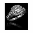 1.36ct Christopher Designs Diamond Antique Style 18k White Gold Engagement Ring Setting