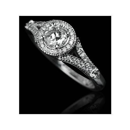Christopher Designs Diamond Antique Style 18k White Gold Engagement Ring