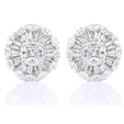 3.01ct Diamond 18k White Gold Cluster Earrings