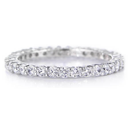 Diamond .91 Carat Platinum Eternity Shared Prong Wedding Band Ring