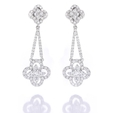 1.38ct Diamond 18k White Gold Dangle Earrings