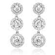 1.56ct Diamond 18k White Gold Dangle Earrings