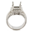 Natalie K Diamond Antique Style 18k White Gold Halo Engagement Ring Mounting