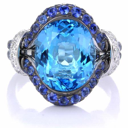 Diamond Blue Sapphire & Blue Topaz 18k White Gold and Black Rhodium Ring