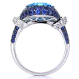.30ct Diamond Blue Sapphire & Blue Topaz 18k White Gold and Black Rhodium Ring