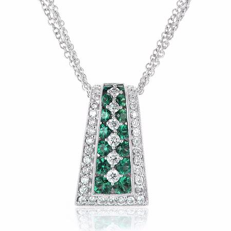Diamond and Emerald Antique Style 18k White Gold Pendant Necklace