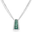 .59ct Diamond and Emerald Antique Style 18k White Gold Pendant Necklace