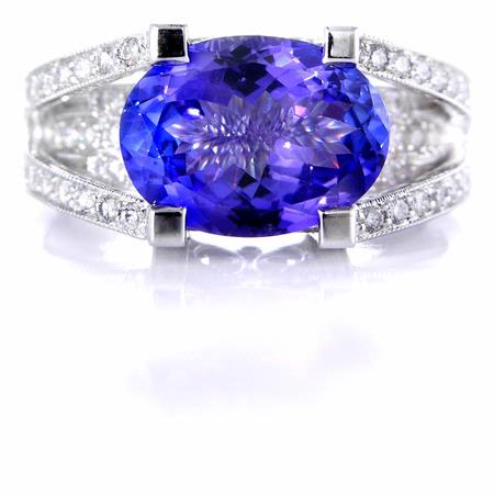 Simon G Diamond and Tanzanite Antique Style 18k White Gold Ring