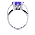 .76ct Simon G Diamond and Tanzanite Antique Style 18k White Gold Ring