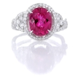 .73ct Simon G Diamond and Rubellite 18k White Gold Ring