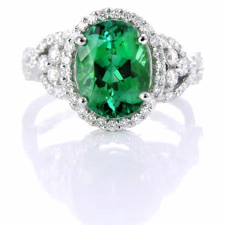 Simon G Diamond and Green Tourmaline 18k White Gold Ring