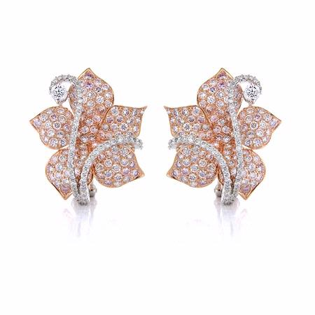 Diamond 18k Two Tone Gold Flower Earrings