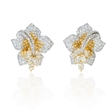 9.83ct Diamond 18k Two Tone Gold Flower Earrings