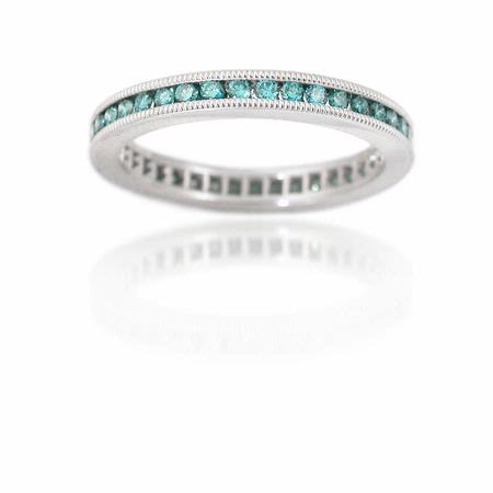 Blue Diamond 18k White Gold Eternity Wedding Band Ring