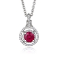 .18ct Diamond and Ruby 18k White Gold Pendant Necklace