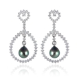 1.38ct Leo Pizzo Diamond and South Sea Black Pearl 18k White Gold Dangle Earrings
