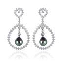 Leo Pizzo Diamond and South Sea Black Pearl 18k White Gold Dangle Earrings