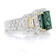 1.12ct Simon G Diamond and Green Tourmaline Antique Style 18k Two Tone Gold Ring