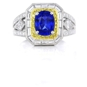 Simon G Diamond and Blue Sapphire Antique Style 18k Two Tone Gold Ring
