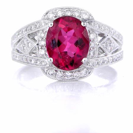 Simon G Diamond and Rubellite 18k White Gold Ring