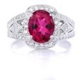.37ct Simon G Diamond and Rubellite Antique Style 18k White Gold Ring