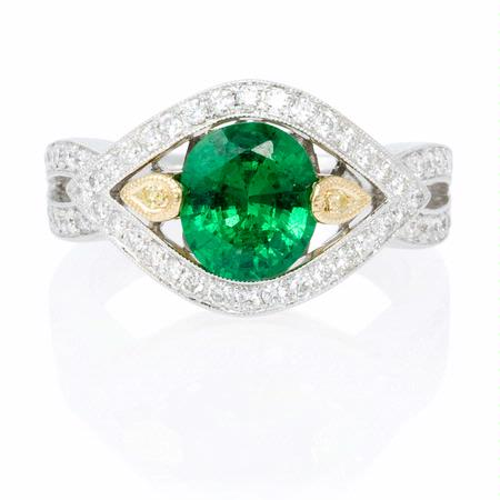 Simon G Diamond and Tsavorite Antique Style 18k Two Tone Gold Ring