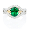 .52ct Simon G Diamond and Tsavorite Antique Style 18k Two Tone Gold Ring