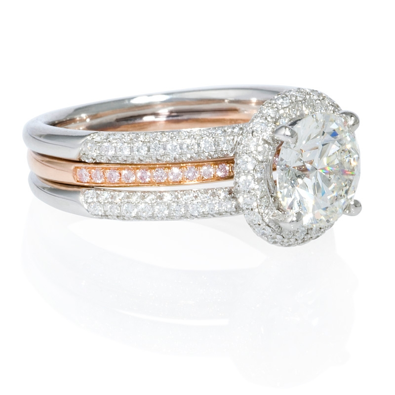 83ct simon g 18k two tone gold halo engagement