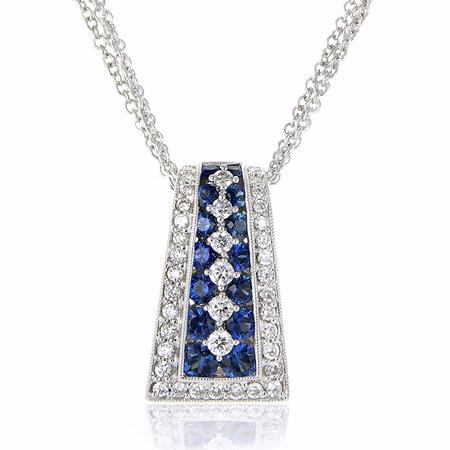 Diamond and Blue Sapphire Antique Style 18k White Gold Pendant Necklace