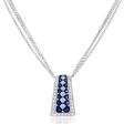 .58ct Diamond and Blue Sapphire Antique Style 18k White Gold Pendant Necklace