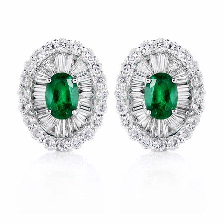 Diamond and Colombian Emerald 18k White Gold Cluster Earrings