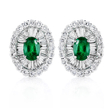 2.92ct Diamond and Colombian Emerald 18k White Gold Cluster Earrings