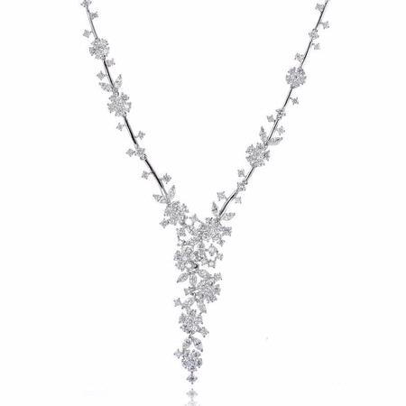 6.32ct Diamond 18k White Gold Flower Drop Necklace